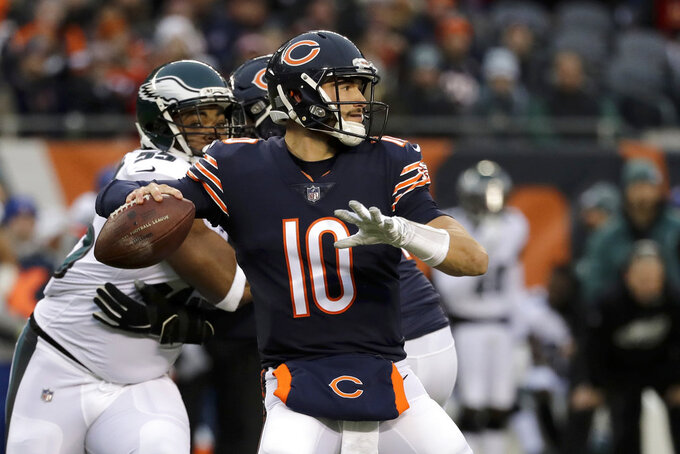 Chicago Bears quarterback Mitchell Trubisky (10) throws a pass during the first half of an NFL wild-card playoff football game against the Philadelphia Eagles Sunday, Jan. 6, 2019, in Chicago. (AP Photo/Nam Y. Huh)