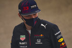 Red Bull driver Max Verstappen of the Netherlands talks to journalists ahead of Sunday's Formula One Turkish Grand Prix at the Intercity Istanbul Park track, outside Istanbul, Turkey, Thursday, Oct. 7, 2021. (AP Photo/Francisco Seco)