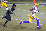 LSU wide receiver Terrace Marshall Jr. (6) beats Vanderbilt cornerback Allan George (28) for a touchdown on a 51-yard pass reception in the first half of an NCAA college football game Saturday, Oct. 3, 2020, in Nashville, Tenn. (AP Photo/Mark Humphrey)
