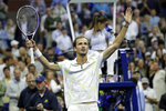 Daniil Medvedev, of Russia, reacts after defeating Grigor Dimitrov, of Bulgaria, during the men's singles semifinals of the U.S. Open tennis championships Friday, Sept. 6, 2019, in New York. (AP Photo/Adam Hunger)