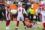 Arizona Cardinals kicker Zane Gonzalez (5) celebrates after making the winning field goal in the second half of an NFL football game against the Cincinnati Bengals, Sunday, Oct. 6, 2019, in Cincinnati. (AP Photo/Gary Landers)