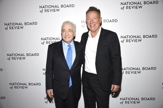 Martin Scorsese, left, and Bruce Springsteen attend the National Board of Review Awards gala at Cipriani 42nd Street on Wednesday, Jan. 8, 2020, in New York. (Photo by Evan Agostini/Invision/AP)