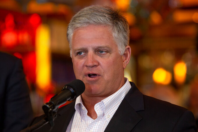 Rep. Drew Ferguson, R-Georgia, speaks to the press at a diner on Monday, May 4, 2021, in Marietta, Ga. Ferguson and other Republicans decried Major League Baseball's decision to move the All-Star game out of Georgia amid concerns about changes to the state's voting laws. (AP Photo/Ron Harris)