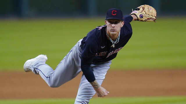 Cleveland Indians pitcher Zach Plesac throws against the Detroit Tigers in the eighth inning of a baseball game in Detroit, Friday, Sept. 18, 2020. (AP Photo/Paul Sancya)