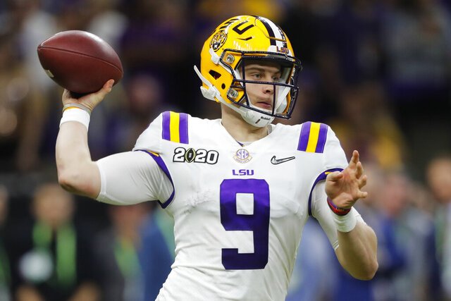 LSU quarterback Joe Burrow passes against Clemson during the second half of a NCAA College Football Playoff national championship game Monday, Jan. 13, 2020, in New Orleans. (AP Photo/Gerald Herbert)