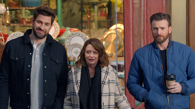 This undated image provided by Hyundai Motor America shows from left John Krasinski, Rachel Dratch and Chris Evans in a scene from the company's 2020 Super Bowl NFL football spot. The automaker pokes fun at Boston accents with a 60-second ad in the second quarter that uses Boston-affiliated celebrities including actor Chris Evans, John Krasinski, Saturday Night Live alum Rachel Dratch and Boston Red Sox David Ortiz. (Hyundai Motor America via AP)