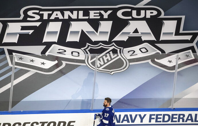 Tampa Bay Lightning center Alex Killorn (17) warms up before taking on the Dallas Stars during NHL Stanley Cup finals hockey action in Edmonton, Alberta, Saturday, Sept. 19, 2020. (Jason Franson/The Canadian Press via AP)