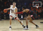 Oregon State's Tres Tinkle (3) looks for an opening around Stanford's KZ Okpala during the second half of an NCAA college basketball game in Corvallis, Ore., Thursday, Feb. 7, 2019. Stanford won 83-60. (AP Photo/Amanda Loman)