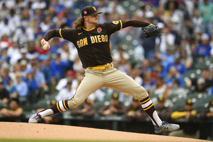San Diego Padres starter Chris Paddack delivers a pitch during the first inning of a baseball game against the Chicago Cubs on Monday, May 31, 2021, in Chicago. (AP Photo/Paul Beaty)