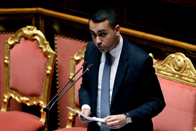 Italian Foreign Minister Luigi Di Maio addresses lawmakers at the senate in Rome, Wednesday, Jan. 15, 2020. Di Maio said that the European Union is considering monitoring the Libyan cease-fire,