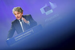 European Commissioner for Internal Market Thierry Breton addresses a media conference on the guidance for strengthening the code of practice on disinformation at EU headquarters in Brussels, Wednesday, May 26, 2021. (Johanna Geron, Pool via AP)