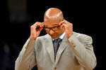 Phoenix Suns head coach Monty Williams stands on the court during a timeout in the first half of an NBA basketball game against the Memphis Grizzlies, Saturday, Nov. 2, 2019, in Memphis, Tenn. (AP Photo/Brandon Dill)