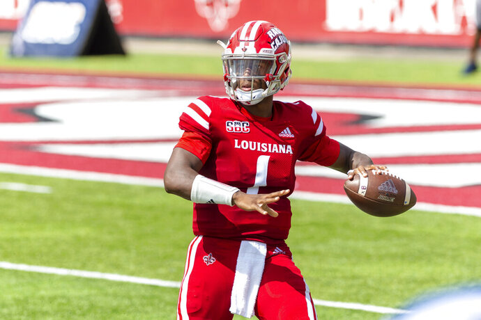 Louisiana-Lafayette quarterback Levi Lewis throws a pass against Georgia Southern during an NCAA college football game, Saturday, Sept. 26, 2020, Lafayette, La.  Louisiana-Lafayette won 20-18. (Scott Clause/The Daily Advertiser via AP)