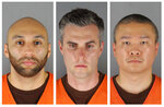 FILE - This combination of photos provided by the Hennepin County Sheriff's Office in Minnesota on Wednesday, June 3, 2020, shows from left, former Minneapolis police officers J. Alexander Kueng, Thomas Lane and Tou Thao. The trial of the three former Minneapolis police officers charged with aiding and abetting in the death of George Floyd will be pushed back to March 2022, in part to allow the publicity over Derek Chauvin's conviction to cool off, a judge ruled Thursday May 13, 2021. (Hennepin County Sheriff's Office via AP File)