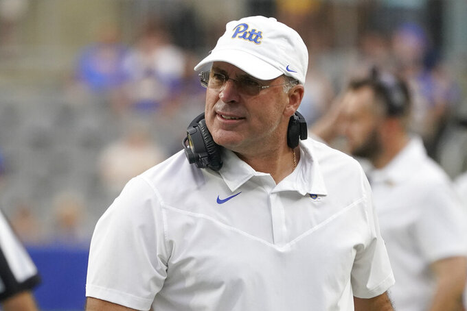 Pittsburgh head coach Pat Narduzzi looks to the field as his team plays against Massachusetts during the second half of an NCAA college football game, Saturday, Sept. 4, 2021, in Pittsburgh. Pittsburgh won 51-7.(AP Photo/Keith Srakocic)
