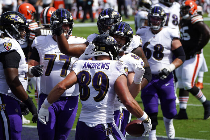 Baltimore Ravens tight end Mark Andrews (89) celebrates a touchdown, during an NFL football game against the Cleveland Browns, Sunday, Sept. 13, 2020, in Baltimore. (AP Photo/Julio Cortez)