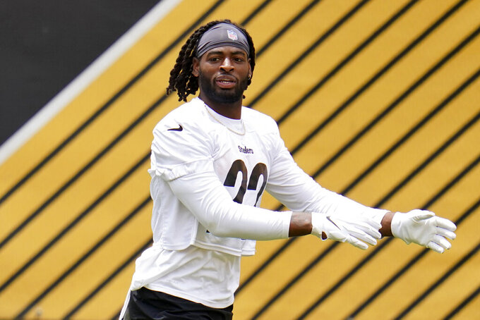 Pittsburgh Steelers running back and first round pick Najee Harris warms up during the team's NFL mini-camp football practice in Pittsburgh, Tuesday, June 15, 2021. (AP Photo/Gene J. Puskar)