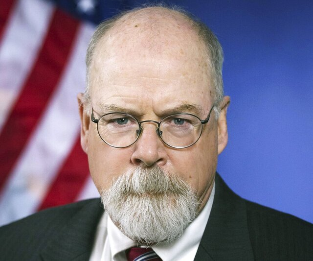 FILE - This 2018 portrait released by the U.S. Department of Justice shows Connecticut's U.S. Attorney John Durham. Attorney General William Barr says he doesn't expect a criminal inquiry into the origins of the Russia investigation to target former President Barack Obama or Joe Biden, the former vice president and President Donald Trump's Democratic opponent this summer. But that doesn't mean the investigation, led by Durham, doesn't carry its own political consequences. (U.S. Department of Justice via AP, File)