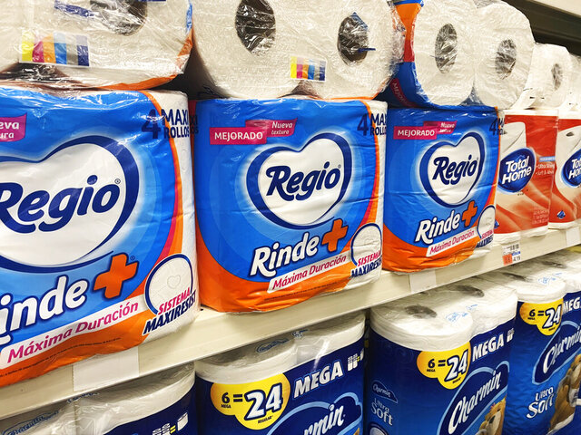 This Sept. 4, 2020, photo, shows Regio, a Mexican toilet paper brand, on the shelf at a CVS in New York. Demand for toilet paper has been so high during the pandemic that in order to keep their shelves stocked, retailers across the country are buying up foreign toilet paper brands, mostly from Mexico. (AP Photo/Joseph Pisani)