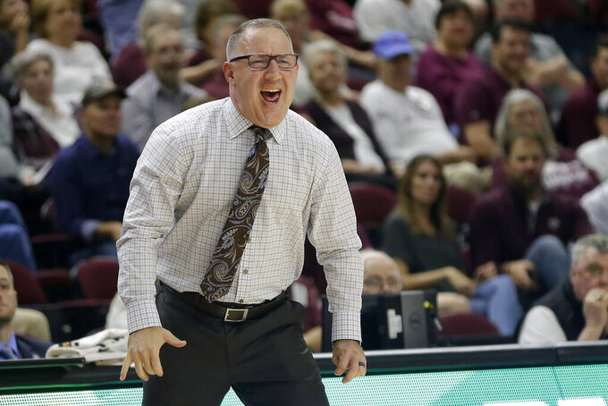 Texas A&M head coach Buzz Williams reacts after a turnover against Northwestern State during the first half of an NCAA college basketball game Wednesday, Nov. 6, 2019, in College Station, Texas. (AP Photo/Sam Craft)