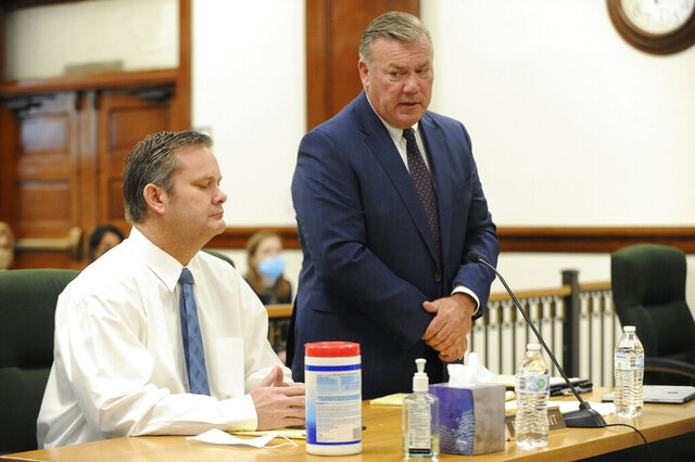 Defense attorney John Prior, right, addresses Magistrate Judge Faren Eddins as to why he and Chad Daybell, left, are not wearing masks in court during a preliminary hearing in St. Anthony, Idaho, on Monday, August 3, 2020. The preliminary hearing will help a judge decide if the charges against Chad Daybell will move forward in state court. Daybell, 52, is charged with concealing evidence by destroying or hiding the bodies of 7-year-old Joshua