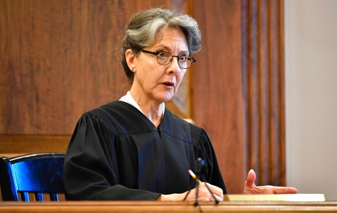 FILE — In this July 23, 2018, file photo, Davidson County Chancellor Ellen Hobbs Lyle presides over a court case in Nashville, Tenn. Almost every Tennessee House Republican says hearings should be held for the removal of Ellen Hobbs Lyle, who expanded absentee voting in the 2020 election due to the COVID-19 pandemic, sparking warnings from legal experts that lawmakers are seriously considering an unprecedented breach of judicial independence. (Larry McCormack/The Tennessean via AP, File)
