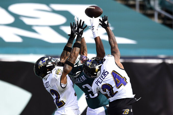 Philadelphia Eagles' Travis Fulgham (13) cannot catch a pass against Baltimore Ravens' Marcus Peters (24) and DeShon Elliott (32) during the first half of an NFL football game, Sunday, Oct. 18, 2020, in Philadelphia. (AP Photo/Derik Hamilton)