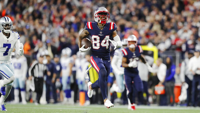 New England Patriots wide receiver Kendrick Bourne (84) out runs Dallas Cowboys cornerback Trevon Diggs (7) on his touchdown against the Dallas Cowboys during the second half of an NFL football game, Sunday, Oct. 17, 2021, in Foxborough, Mass. (AP Photo/Michael Dwyer)