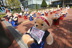 Teddy bears are displayed to protest against a crackdown on illegal street vendors, in front of the Mapo ward office in Seoul, South Korea, Thursday, Sept. 24, 2020. Street vendors replaced protestors with teddy bears to avoid the violation of an ongoing ban on rallies with more than 10 people amid the coronavirus pandemic. The signs read: