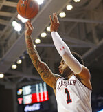 Texas Tech's Bandone Francis shoots during the first half of the team's NCAA college basketball game against Kansas, Saturday, Feb. 23, 2019, in Lubbock, Texas. (AP Photo/Brad Tollefson)