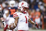 Nebraska's Wan'Dale Robinson (1) scores in the second half of an NCAA college football game against Illinois on Saturday, Sept. 21, 2019, in Champaign, Ill. (AP Photo/Holly Hart)