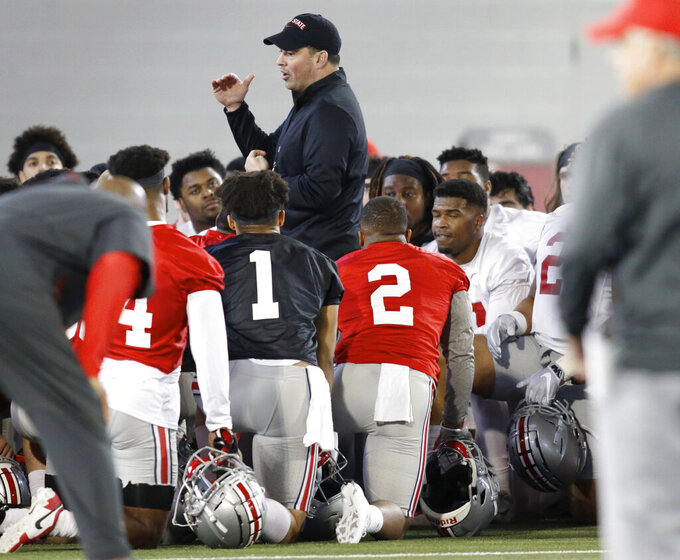 Ohio State NCAA college football head coach Ryan Day talks to his team in Columbus, Ohio, Wednesday, March 6, 2019. (AP Photo/Paul Vernon)