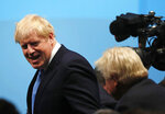 British lawmaker Boris Johnson arrives for the announcement of the new leader of the Conservative Party will be made in London, Tuesday, July 23, 2019. Britain's governing Conservative Party is set to reveal Tuesday the identity of the country's next prime minister, with Brexit hardliner Boris Johnson the strong favorite to get the job. Party officials will announce whether Johnson or rival Jeremy Hunt has won a ballot of about 160,000 Conservative members. (AP Photo/Frank Augstein)