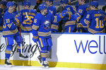 Buffalo Sabres forward Anders Bjork (96) celebrates his goal during the second period of an NHL hockey game against the New York Islanders, Tuesday, May 4, 2021, in Buffalo, N.Y. (AP Photo/Jeffrey T. Barnes)
