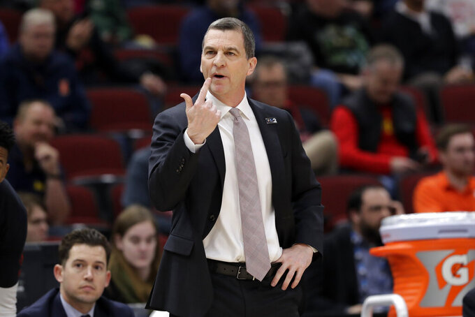 Maryland head coach Mark Turgeon directs his team during the first half of an NCAA college basketball game against the Nebraska in the second round of the Big Ten Conference tournament, Thursday, March 14, 2019, in Chicago. (AP Photo/Nam Y. Huh)