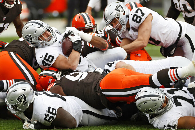 Las Vegas Raiders fullback Alec Ingold (45) rushes for a first down during the first half of an NFL football game against the Cleveland Browns, Sunday, Nov. 1, 2020, in Cleveland. (AP Photo/Ron Schwane)