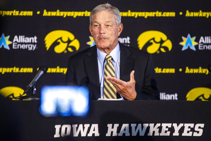 Iowa coach Kirk Ferentz speaks during the team's NCAA college football media day, Friday, Aug. 9, 2019, in Iowa City, Iowa. (Joseph Cress/Iowa City Press-Citizen via AP)