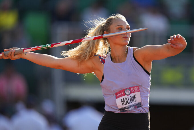 Maggie Malone competes during the finals of the women's javelin throw at the U.S. Olympic Track and Field Trials Saturday, June 26, 2021, in Eugene, Ore. (AP Photo/Charlie Riedel)