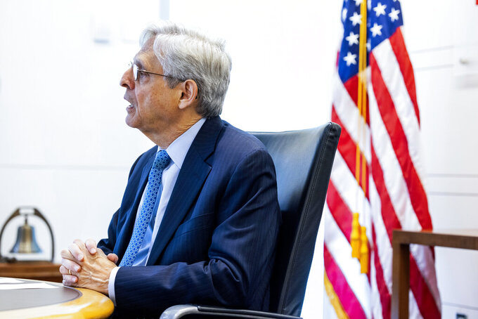 Attorney General Merrick Garland speaks at the Bureau of Alcohol, Tobacco and Firearms (ATF) in Washington, Thursday, July, 22 2021. (Jim Lo Scalzo/Pool via AP)