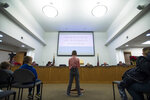 Range View Elementary School third grader Dane Best presents his argument to town board trustees to change a law in Severance that bans snowball fights on Monday, Dec. 3, 2018, at the Town Hall in Severance, Colo. The 9-year-old boy has convinced the leaders of the small northern Colorado town to overturn a nearly century-old ban on snowball fights. (Timothy Hurst/The Coloradoan via AP)