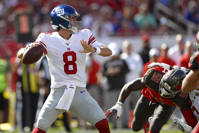 The Latest: Daniel Jones era begins for Giants