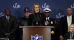 NFL Chief Security Officer Cathy Lanier speaks during a security news conference for the NFL Super Bowl 53 football game Wednesday, Jan. 30, 2019, in Atlanta. (AP Photo/David J. Phillip)
