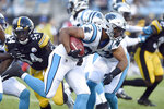 Carolina Panthers running back Reggie Bonnafon (39) runs against the Pittsburgh Steelers during the first half of an NFL preseason football game in Charlotte, N.C., Thursday, Aug. 29, 2019. (AP Photo/Mike McCarn)