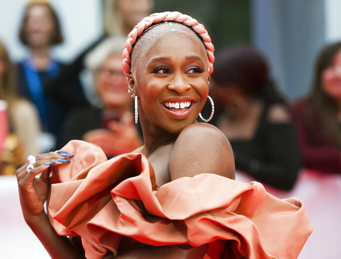 Actress Cynthia Erivo arrives on the red carpet for the gala premiere of the film