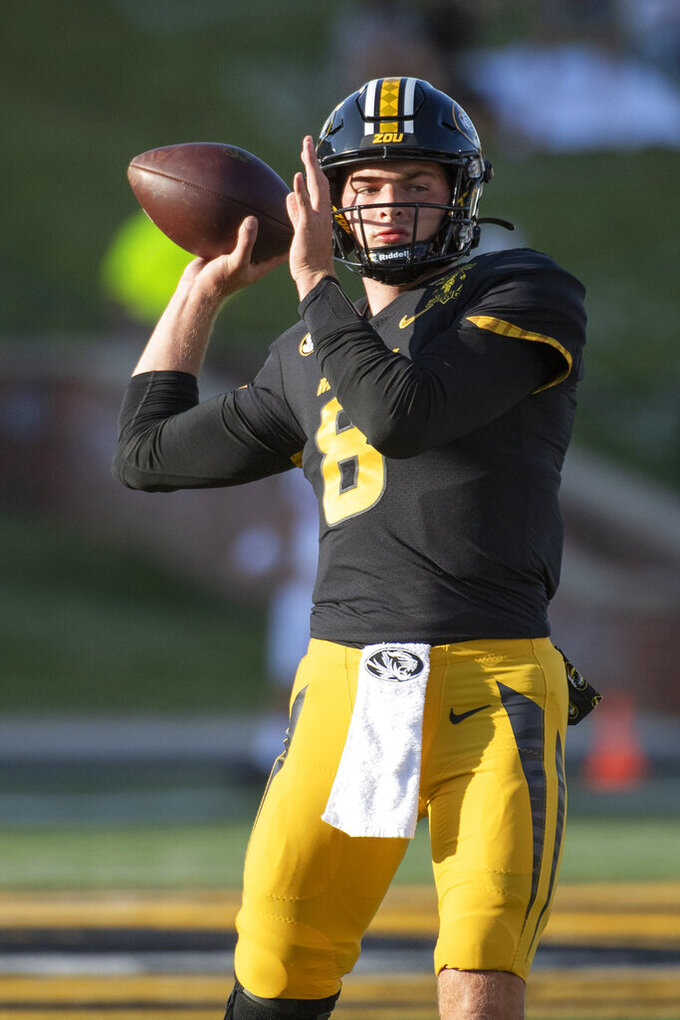 Missouri quarterback Connor Bazelak warms up before an NCAA college football game against Alabama, Saturday, Sept. 26, 2020, in Columbia, Mo. (AP Photo/L.G. Patterson)
