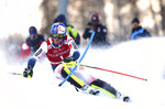 France's Alexis Pinturault competes during an alpine ski, men's World Cup slalom in Val d' Isere, France, Sunday, Dec. 15, 2019. (AP Photo/Marco Trovati)