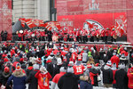 Kansas City Chiefs Rumble performs during a Super Bowl rally in Kansas City, Mo., Wednesday, Feb. 5, 2020. (AP Photo/Orlin Wagner)