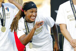North Carolina Courage's Jessica McDonald waves to fans during the trophy presentation following an NWSL championship soccer game against the Chicago Red Stars in Cary, N.C., Sunday, Oct. 27, 2019. (AP Photo/Karl B DeBlaker)