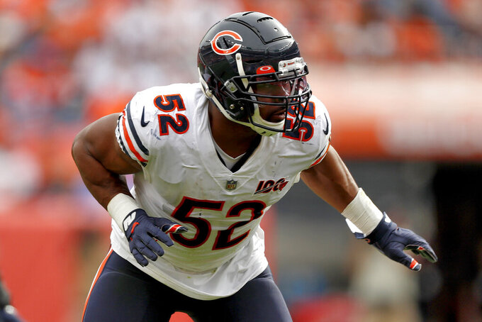 Chicago Bears outside linebacker Khalil Mack (52) runs a play during the second half of an NFL football game against the Denver Broncos, Sunday, Sept. 15, 2019, in Denver. (AP Photo/David Zalubowski)