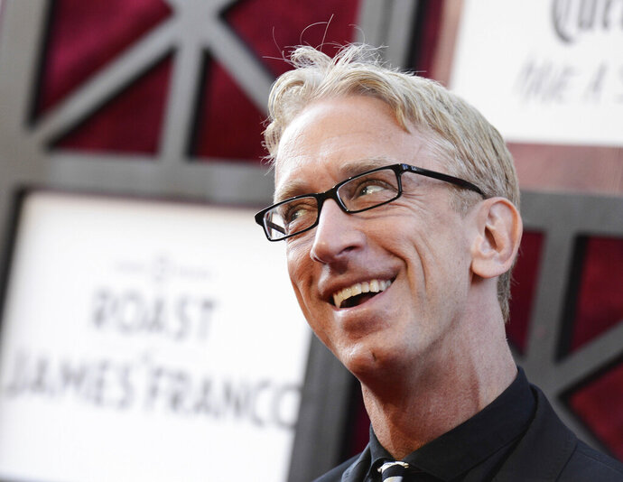 FILE - In this Aug. 25, 2013, file photo, comedian Andy Dick arrives at the Comedy Central Roast of James Franco at The Culver Studios in Culver City, Calif. Dick says he was assaulted outside a New Orleans nightclub after performing in the French Quarter. He tells The Times-Picayune/The New Orleans Advocate he was unconscious for 15 minutes after someone knocked him to the ground with a punch early Saturday, Aug. 10, 2019. (Photo by Dan Steinberg/Invision/AP, File)